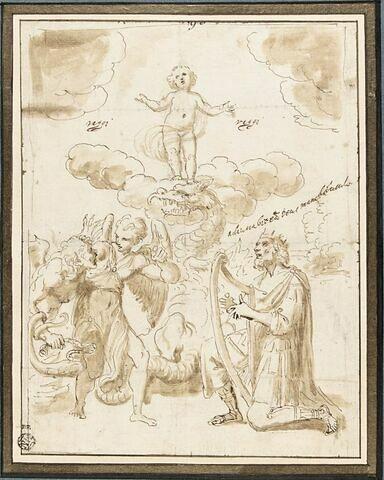 Jésus foulant le serpent, le roi David et un ange repoussant le démon