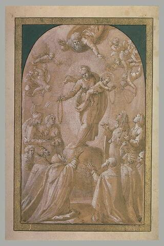 La Vierge et l'Enfant Jésus distribuant des rosaires à des saints