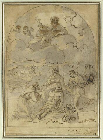 Christ mort sur les genoux de la Vierge adoré par trois saints