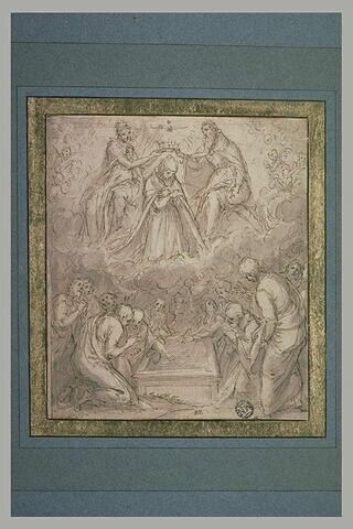 Apôtres près du tombeau vide de la Vierge et le Couronnement de la Vierge