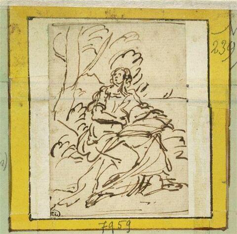Saint Jean assis au pied d'un arbre
