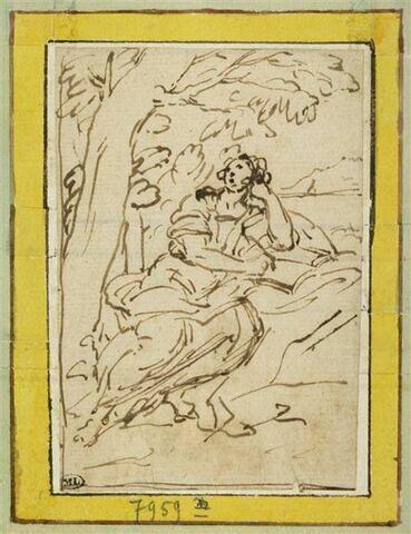 Saint Jean assis au pied d'un arbre accoudé sur un livre