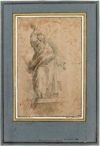 Homme drapé debout, le visage levé au ciel : Saint Jean