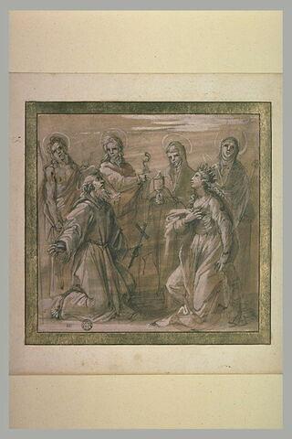 Saint François et sainte Catherine à genoux entourée de quatre saints