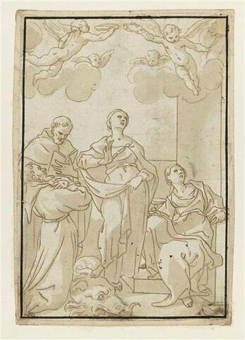 Groupe de quatre saints et d'angelots