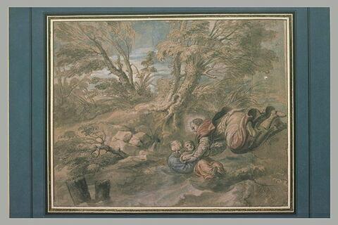 Un saint venant au secours d'un vieillard et d'un enfant qui se noient