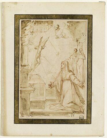Sainte Catherine de Sienne devant un crucifix, reçevant les stigmates