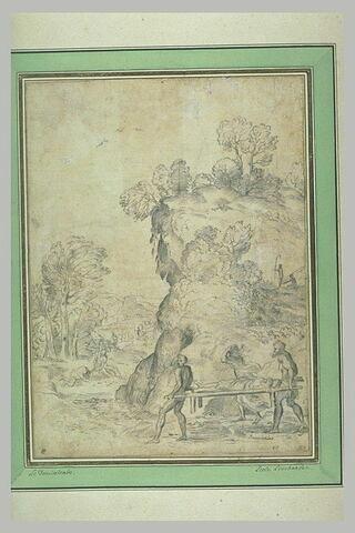 Paysage avec deux hommes portant un cadavre et une femme désolée