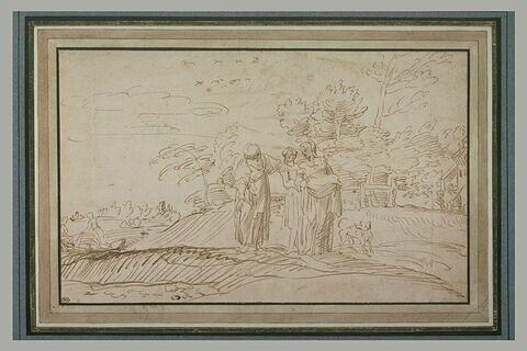 Sur un terrain boisé au bord de l'eau, trois femmes conversant