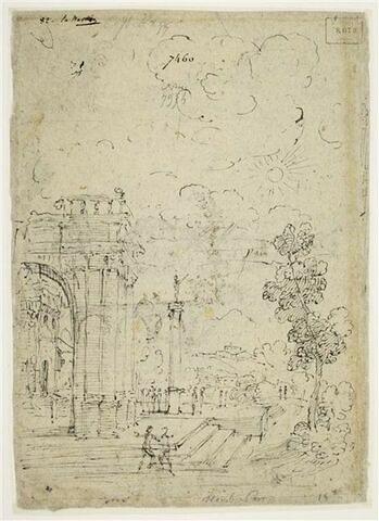 Groupe de personnages devant un palais