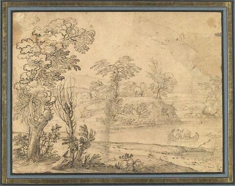 Dans un paysage vallonné et boisé, trois figures en barque sur une rivière