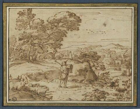 Paysage avec un berger jouant de la cornemuse
