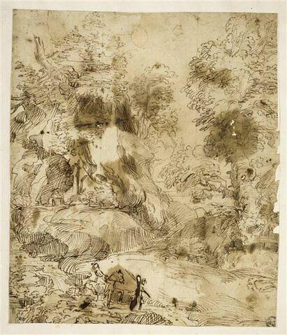 Paysage avec un cavalier et un moine en prière