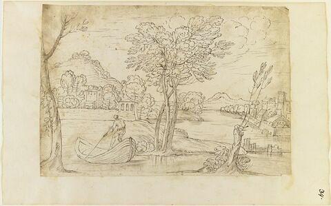 Homme sur une barque, dans un paysage vallonné avec une ville fortifiée