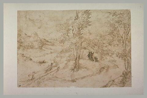 Paysage représentant un bois, trois hommes sont au milieu