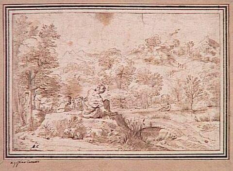 Paysage avec trois figures et un chien endormi au premier plan