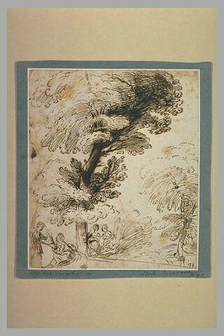 Quatre figures sous un grand arbre