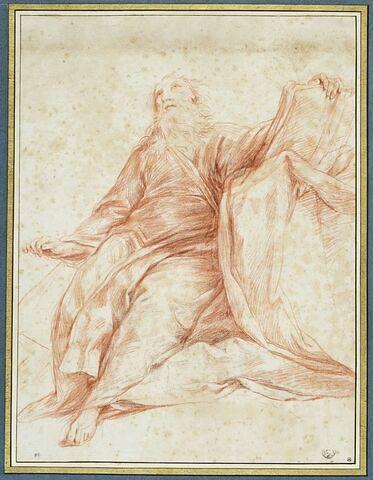 Un vieillard en méditation assis, main gauche sur un livre