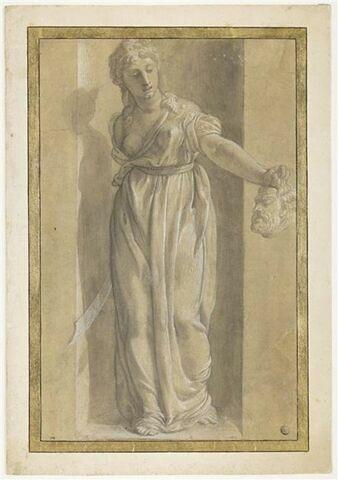 Judith debout tenant la tête d'Holopherne