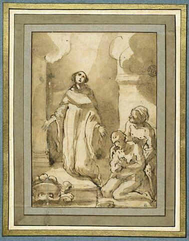 Guerison d'un malade obtenue par la prière d'un saint à genoux