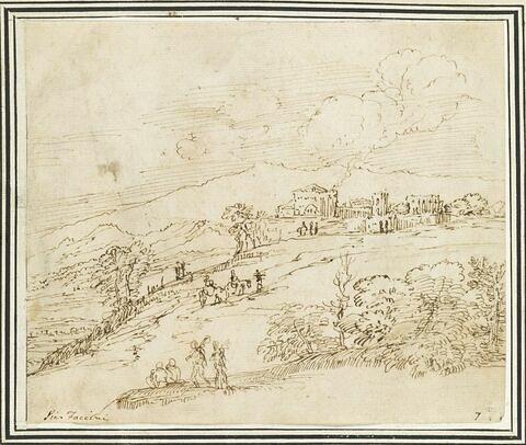 Paysage vallonné, avec des personnages aux abords d'une cité