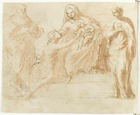 Vierge à l'Enfant adorée par deux saints et une sainte