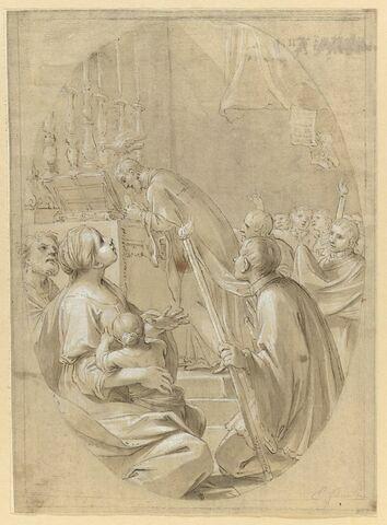 Apparition du Saint-Esprit au-dessus d'un prêtre communiant