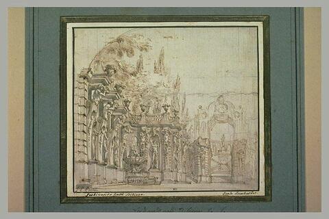 Projet pour une galerie dans un parc, ornée de statues et de vases
