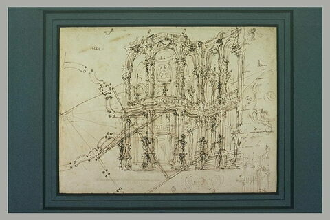 Etude pour une façade, études de motifs décoratifs et plan