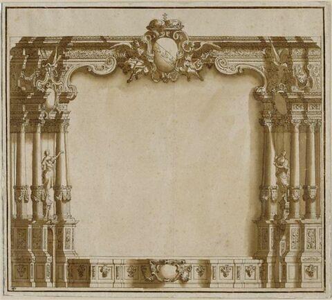 Cadre d'avant scène d'un théâtre, avec les armoiries de Lorraine