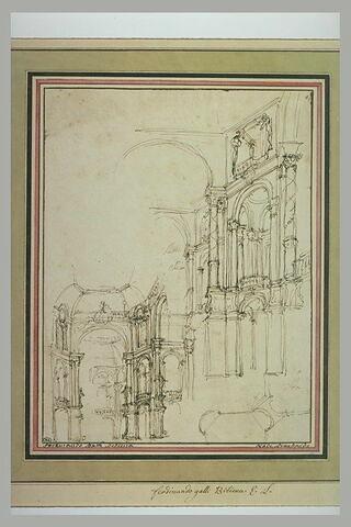 Deux études de décor de théâtre, à grandes colonnades