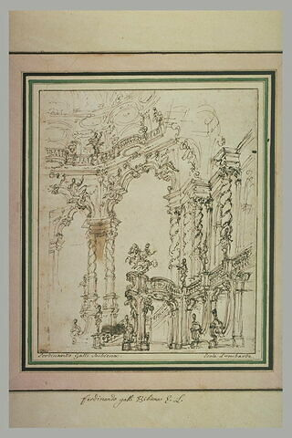 Projet de décor de théâtre : un vaste hall octogonal avec un portique