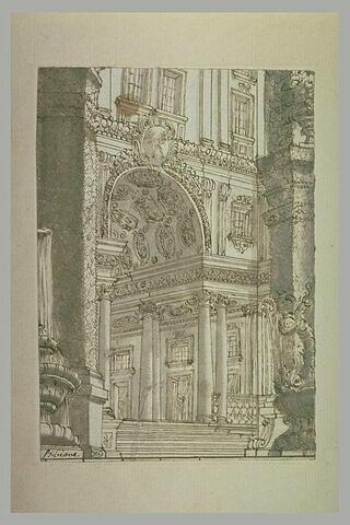 Projet pour un décor, avec la façade d'un palais vue à travers des pilastres