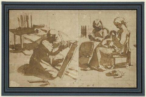 La Vierge, l'Enfant, sainte Anne et saint Joseph préparant une pièce de bois