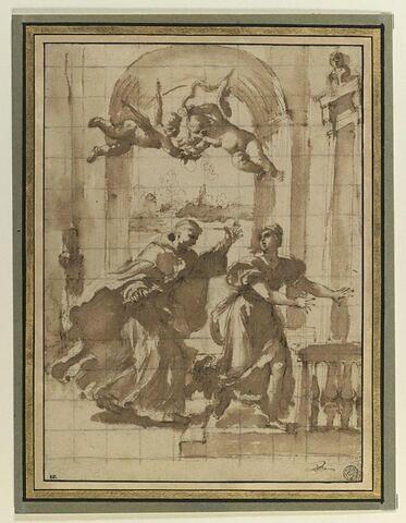 Saint Thomas d'Aquin poursuivant avec un tison enflammé une femme
