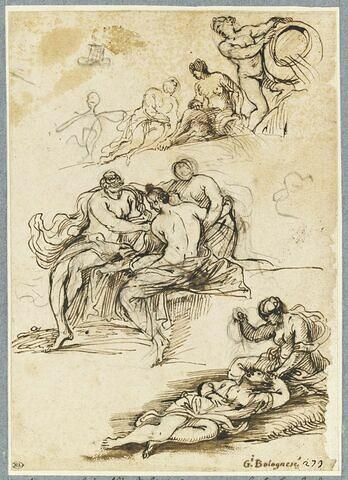 Scène de meurtre, trois figures assises, demi nues, figures avec des vases