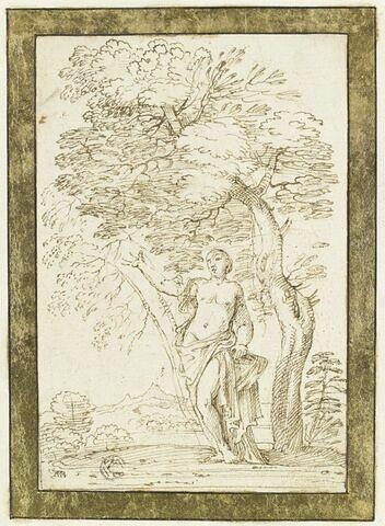 Nymphe debout au pied d'un arbre