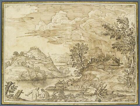 Paysage avec deux baigneurs et un pêcheur