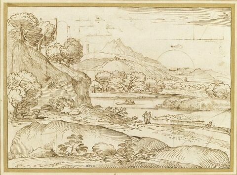 Vaste paysage montagneux, avec une rivière passant à travers champs