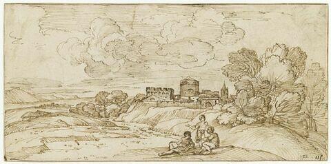 Trois hommes conversant, dans un paysage avec une forteresse au loin