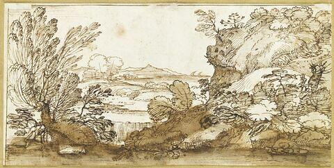 Plaine en bord de mer, visible à travers des taillis