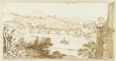 Vue du Ponte Molle, prise de la Villa Madama