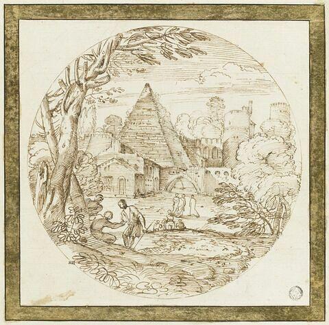 Figures aux abords des murs d'un château, avec une pyramide