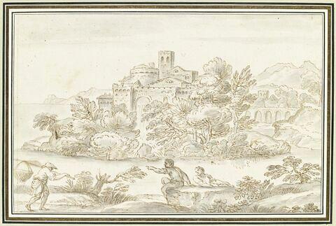 Trois hommes au bord de l'eau, devant une forteresse sur une île