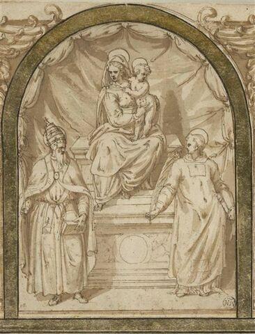 La Vierge à l'Enfant en trône entre un saint pape et un saint clerc martyr