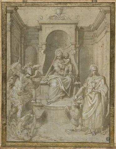 La Vierge à l'Enfant en trône, entre saint Michel et saint Jean Evangéliste