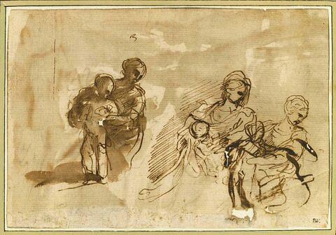 Trois études d'une femme tenant un enfant : une Vierge à l'Enfant (?)