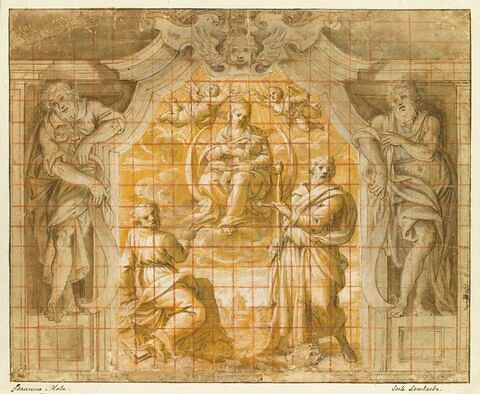 Projet de décoration : apparition de la Vierge à l'Enfant à deux saints