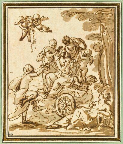 Vénus dans son char servie par des amours et les trois grâces