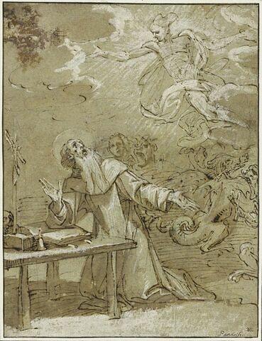 Saint Antoine à genoux, tourmenté par les démons, délivré par un ange